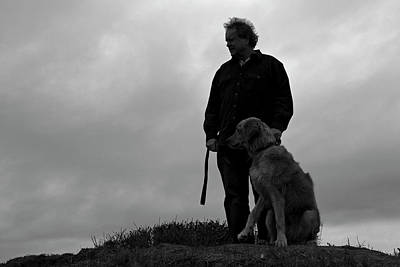 Photograph - Man And His Dog In Silhouette by Lorraine Devon Wilke