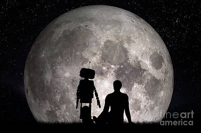 Moon Photograph - Man And His Robot Friend Looking On Moon. Future Concept, Artificial Intelligence by Michal Bednarek