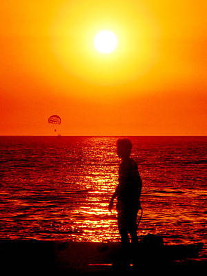 Photograph - Man And Kiteman At Sunset by Pete Marchetto