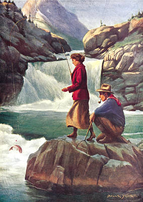 Canoe Painting - Man And Woman Fishing by JQ Licensing