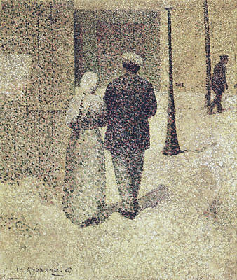 Pointillist Painting - Man And Woman In The Street by Charles Angrand