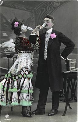 Pink Food Photograph - Man And Woman In Vintage Party Clothes by Gillham Studios