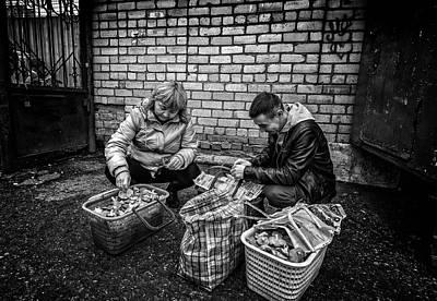 Photograph - Man And Woman Mushroom Basket by John Williams