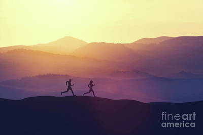 Photograph - Man And Woman Running On A Hill In The Country by Michal Bednarek