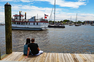 Man And Woman Sitting On The Dock Art Print