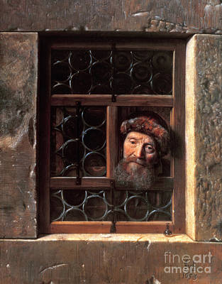 Bottle Painting - Man At A Window by Samuel van Hoogstraten