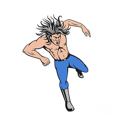 Abs Digital Art - Man Big Hair Jumping Cartoon by Aloysius Patrimonio