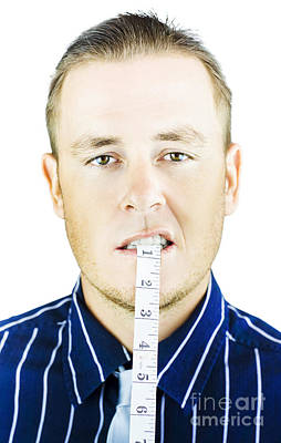 Bite Photograph - Man Biting Tape Measure by Jorgo Photography - Wall Art Gallery