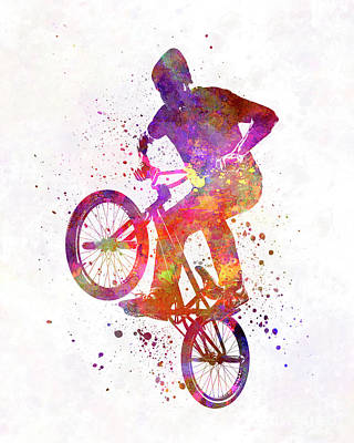 Cycles Painting - Man Bmx Acrobatic Figure In Watercolor by Pablo Romero