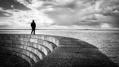 Man By The Sea - Howth, Ireland - Black And White Street Photography Art Print