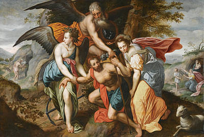 Jacob De Backer Painting - Man Carrying The Burdens Of Time. An Allegory Of The Four Ages Of Man by Jacob de Backer and Studio
