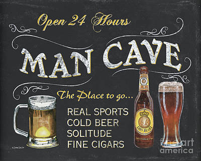 Cave Painting - Man Cave Chalkboard Sign by Debbie DeWitt