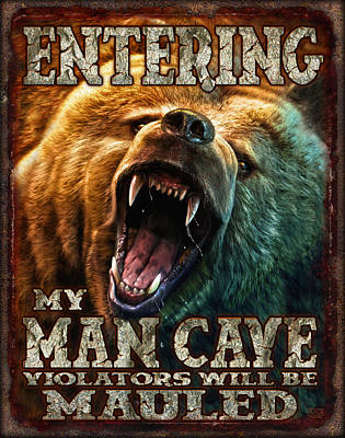 Grizzly Painting - Man Cave by JQ Licensing