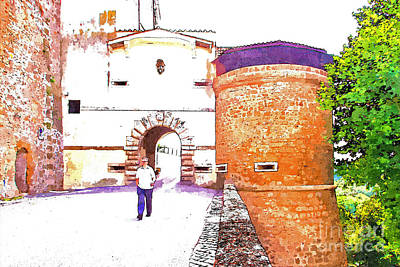 Painting - Man Comes Out Of The Village Door Passing Near The Cylindrical Tower by Giuseppe Cocco