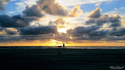 Photograph - Man Dog And Sunrise by Robert Banach