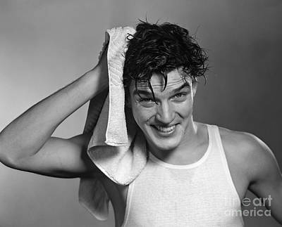 Towels Drying Photograph - Man Drying Hair, C.1950s by Debrocke/ClassicStock
