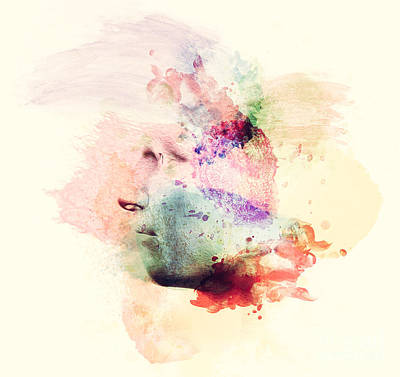Imagine Photograph - Man Face In Watercolor Painting. Concept Of Creative Thinking, Imagination, Emotions by Michal Bednarek