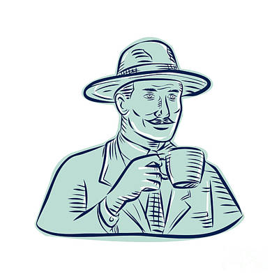Man Fedora Hat Drinking Coffee Etching Art Print