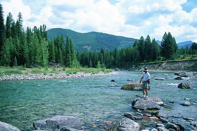 Man Fishing A Beautiful High Mountain Stream Art Print by Jerry Voss