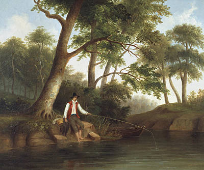 Fishing Pole Painting - Man Fishing by Robert Seldon Duncanson