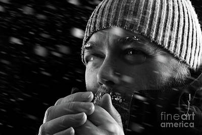 Man Freezing In Snow Storm Bw Art Print by Simon Bratt Photography LRPS