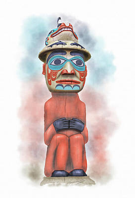 Totem Pole Painting - Man From Bear Clan by David Wagner