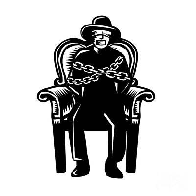 Man Gagged Chained To Grand Arm Chair Woodcut Art Print by Aloysius Patrimonio