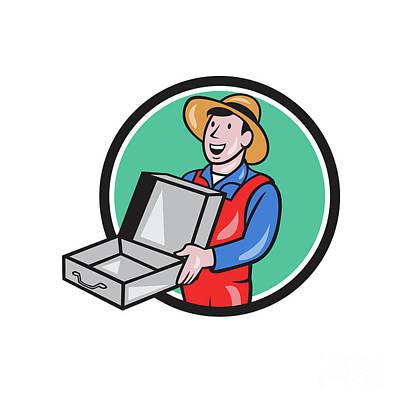 Man Holding Empty Open Suitcase Circle Cartoon Art Print
