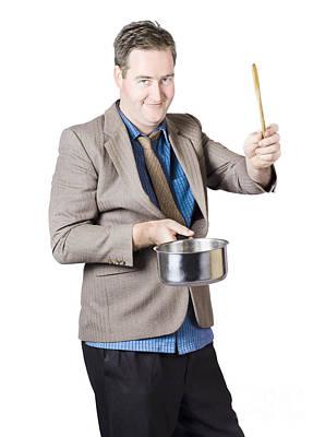 Man Holding Saucepan And Spatula Art Print