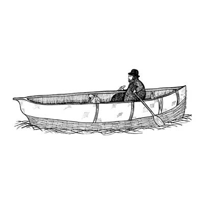 Illustrate Drawing - Man In A Boat With His Dog by Karl Addison