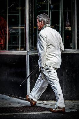 Nik Plugins Digital Art - Man In A White Suit With Cane by John Haldane