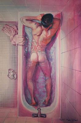Man In Bathtub #1 Art Print