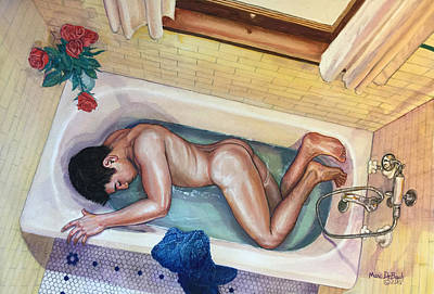 Painting - Man In Bathtub #3 by Marc  DeBauch
