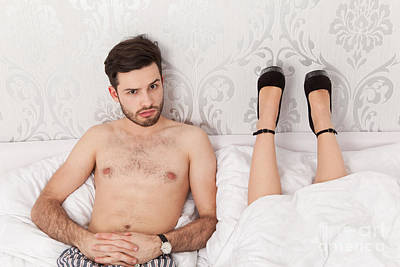 Man In Bed Wondering About The Lying Position Of His Girlfriend Art Print