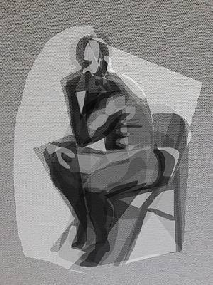 Digital Art - Man In Chair by Clyde Semler