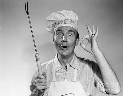 Photograph - Man In Chefs Hat Making Ok Sign by Debrocke and ClassicStock