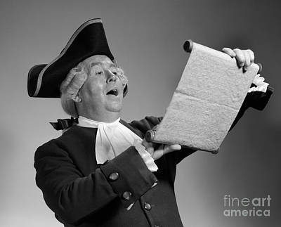 Colonial Man Photograph - Man In Colonial Town Crier Costume by H. Armstrong Roberts/ClassicStock