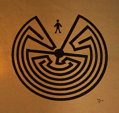 Print featuring the photograph Man In Maze by Tom Singleton