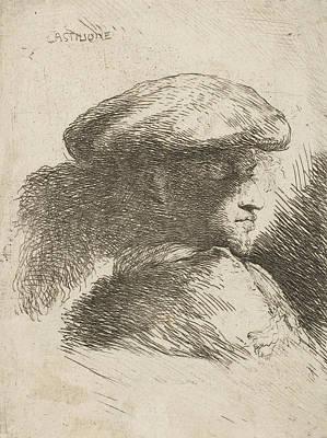 Relief - Man In Profile Facing Right, Wearing A Fur Hat by Giovanni Benedetto Castiglione