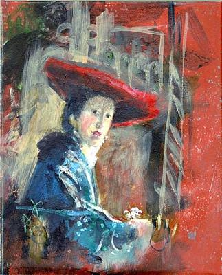 Painting - Man In Red Hat After Vermeer by Gertrude Palmer