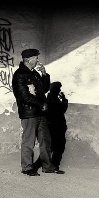 Photograph - Man In Shadow Smokes A Cigarette by John Williams