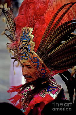 Man In Traditional Headdress To Celebrate The Day Of The Virgin Of Guadalupe On December 12th In Mexico City Print by Sami Sarkis