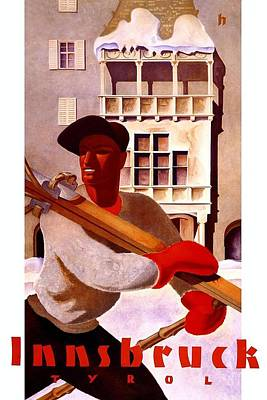 Kunst Mixed Media - Man In Winter Clothes Carrying Skis - Innsbruck Austria - Vintage Travel Poster by Studio Grafiikka