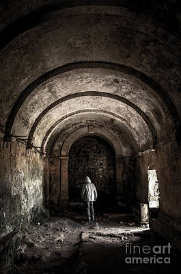 Raincoats Photograph - Man Inside A Ruined Chapel by Carlos Caetano