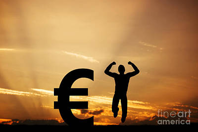 Economy Photograph - Man Jumping For Joy Next To Euro Symbol by Michal Bednarek