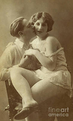 Photograph - Man Kissing Woman On Cheek  by English School