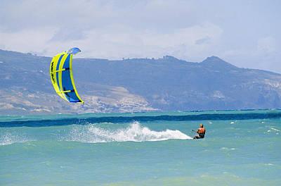 Kiteboarding Photograph - Man Kiteboarding In Turquoise Water by Mark Cosslett