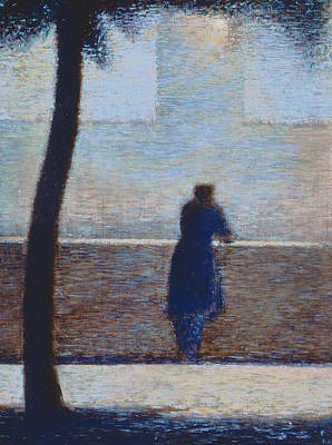 Lonesome Painting - Man Leaning On A Parapet by Georges Pierre Seurat