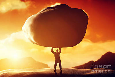 Conceptual Photograph - Man Lifting A Huge Rock by Michal Bednarek