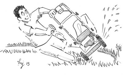 Drawing - Man Mowing The Lawn Cartoon - Speed Mower by Mike Jory